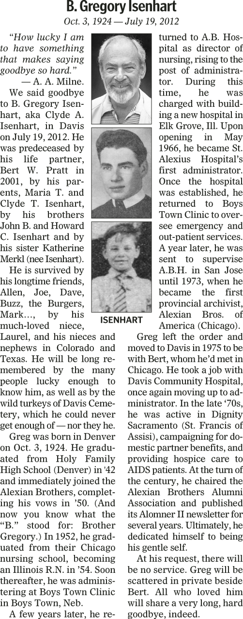 Greg's Davis obituary